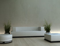 3d interior. Empty home interior with furniture and plants Royalty Free Stock Photo