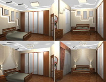 3d interior of the bedroom Royalty Free Stock Photos