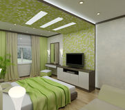 3D interior bedrooms. With bed and a window to the street Stock Image