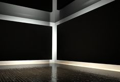 3d interior corner with black empty frames Royalty Free Stock Photo