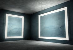 3d interior corner with white empty frames Royalty Free Stock Photography