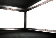 3d interior corner with white empty frames. 3d modern interior corner with white empty frames Royalty Free Stock Photo