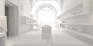 3d interior design blank shop Stock Image