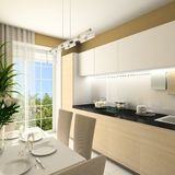 3d interior kitchen modern render Στοκ Εικόνα
