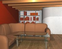 3D interior of a library room Royalty Free Stock Photos