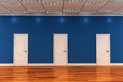 3d interior room with white doors Royalty Free Stock Photography