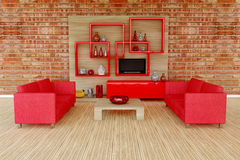 3d Interior Room With Red Sofa Royalty Free Stock Images