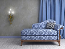 3D interior scene with classic armchair and lamp.  Royalty Free Stock Photography