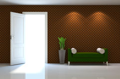 3d interior scene of a  couch on brow classic wall Royalty Free Stock Photo