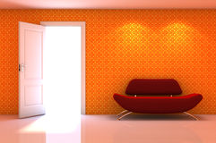 3d interior scene of a red couch on classic wall Royalty Free Stock Photos