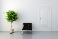 3d interior with white door and walls