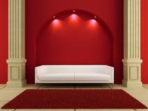 3d interiores - sofá blanco en sitio rojo Imagenes de archivo