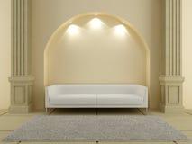 3D interiori - sofà rosso sotto l'arco Fotografia Stock Libera da Diritti
