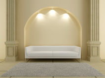 3D Interiors - Red sofa under the arc. 3d Interiors - white couch under the arc Royalty Free Stock Photo