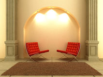 3D Interiors - Seat under the arc. Two modern style seat under the arc wall Royalty Free Stock Photos