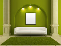 3d interiors - White couch in green room Stock Image