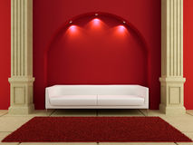 3d interiors - White couch in red room. Between the columns Stock Images