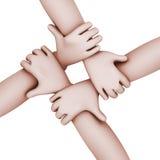 3d interlocked folk fyra händer. Royaltyfri Fotografi