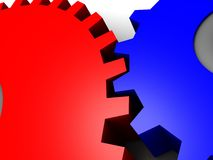 3D Interlocked gears Stock Images