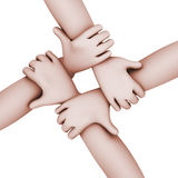 3d interlocked people four hands. Royalty Free Stock Photography