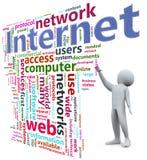 3d internetów mężczyzna wordcloud Obraz Stock