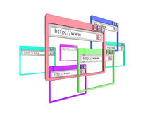 3d internet browser windows. 3d Illustration of internet browser windows, isolated on a white background Royalty Free Stock Image