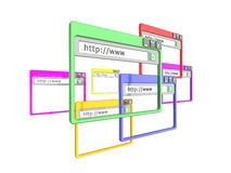 3d internet browser windows. 3d Illustration of internet browser windows, isolated on a white background. Part of a series of browser window, and internet Stock Image