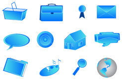 3d internet icons. Illustration of 3d internet icons, blue Stock Image