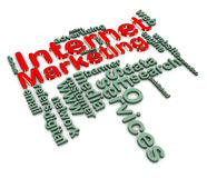 3d internet marketing wordcloud. 3d render of internet marketing wordcloud Stock Image