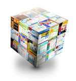 3D Internet Website Box on White. A 3d internet box is on an white background. There are different website templates in a cube. Use it for a database or