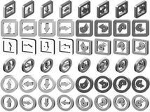 3D Inzameling van de Pictogrammen van de Pijl Royalty-vrije Stock Foto's