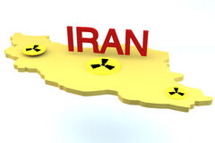 3d Iran model with nucliar logos on white Royalty Free Stock Photo