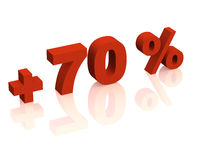 3d iscrizione rossa - un più di settanta per cento Fotografia Stock