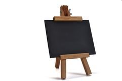 3D isolated blackboard with easel (for your text) Royalty Free Stock Photo