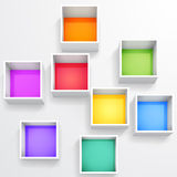 3d isolated Empty colorful bookshelf Royalty Free Stock Photo
