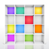 3d isolated Empty colorful bookshelf Royalty Free Stock Images
