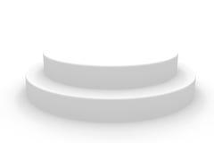 3D isolated empty white podium. 3D empty white podium. Computer generated image Stock Photography