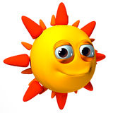 3D isolated Sun Illustration. 3D smiling sun, yellow, orange and red, isolated on white background stock illustration