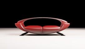 3d isolato sofà rosso moderno Fotografia Stock Libera da Diritti
