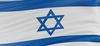 3D Israeli flag. With fabric surface texture. White background Royalty Free Stock Images