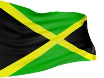 3D Jamaican flag. With fabric surface texture. White background royalty free stock photo