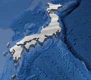 3D japan map. With ocean detail and deep Royalty Free Stock Photos