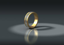 3D jewelry, gold ring with diamonds Stock Image