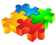 3d jigsaw pieces. Jigsaw puzzle: 3d icon isolated on white Stock Photo