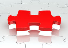 3d .Jigsaw puzzle. 3d ,jigsaw puzzle with a red piece Stock Image