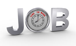 3d job - time to work clock Royalty Free Stock Photography