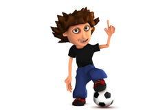 3D jongen van het beeldverhaalvoetbal vector illustratie