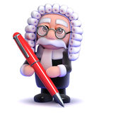 3d Judge with pen Stock Photo