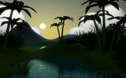 3d jungle landscape at night Royalty Free Stock Photography