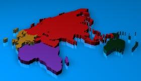 3D Kaart die van europa, Afrika, Azië, Rusland wordt teruggegeven Stock Foto's